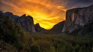 florest-mountains-orange-sky